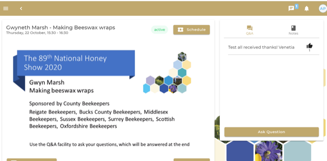 OBKA Sponsors Beeswax wrap Demo National Honey Show 2020
