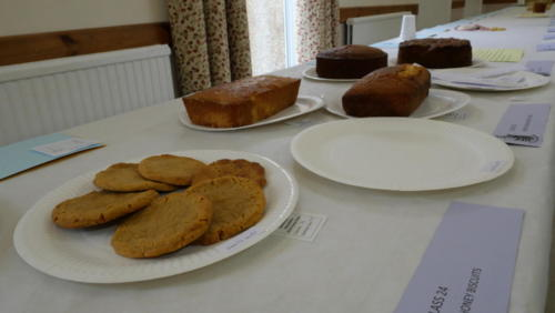 Class 24: Six Honey biscuits (foreground) and Class 23: Honey Lemon Drizzle cake (background)